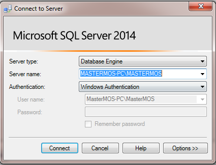 SQL Server 2014 Connect to Server