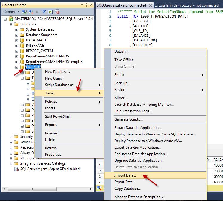 Import file Excel vao SQL Server_SQL 64 bit va Office 32 bit_Buoc 1