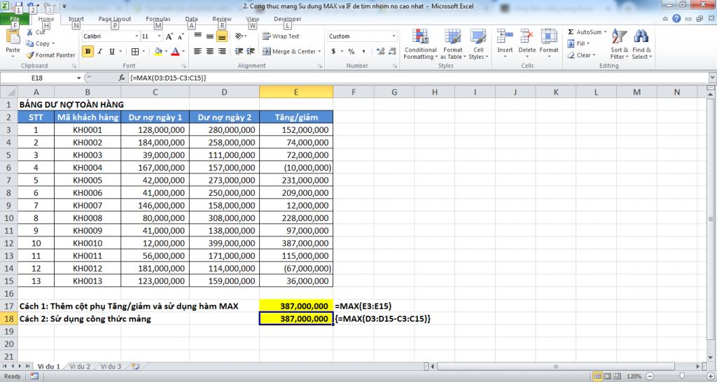 3. Cong thuc mang trong Excel - Manh me nhung day quyen ru - Vi du 1
