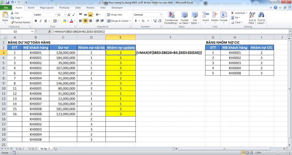 3. Cong thuc mang trong Excel - Manh me nhung day quyen ru - Vi du 3