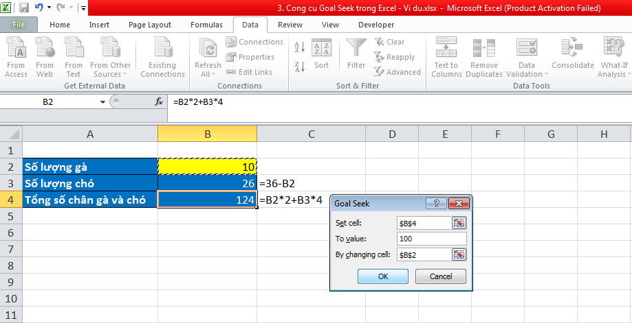 3. Cong cu Goal Seek trong Excel - Vi du 3