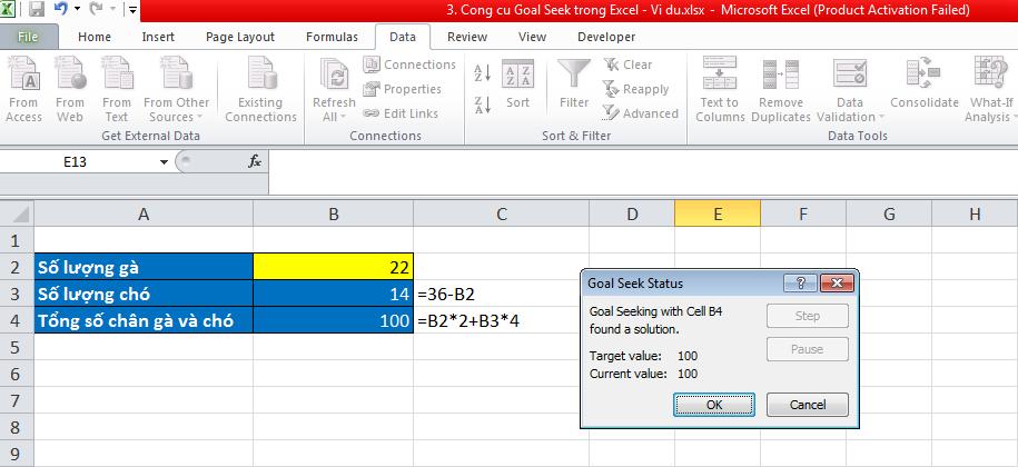3. Cong cu Goal Seek trong Excel - Vi du 4