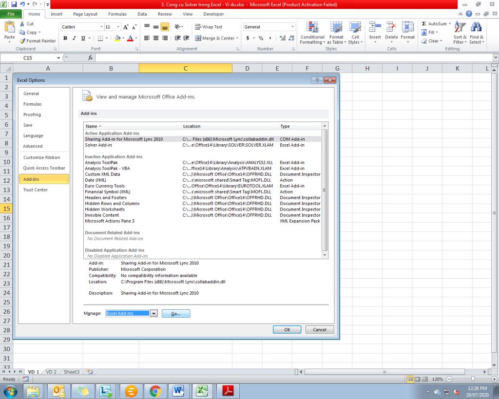 3. Cong cu Solver trong Excel - Phan 1 - Vi du 1