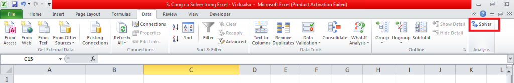 3. Cong cu Solver trong Excel - Phan 1 - Vi du 3