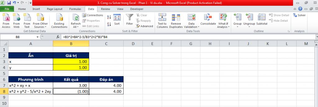 3. Cong cu Solver trong Excel - Phan 1 - Vi du 6