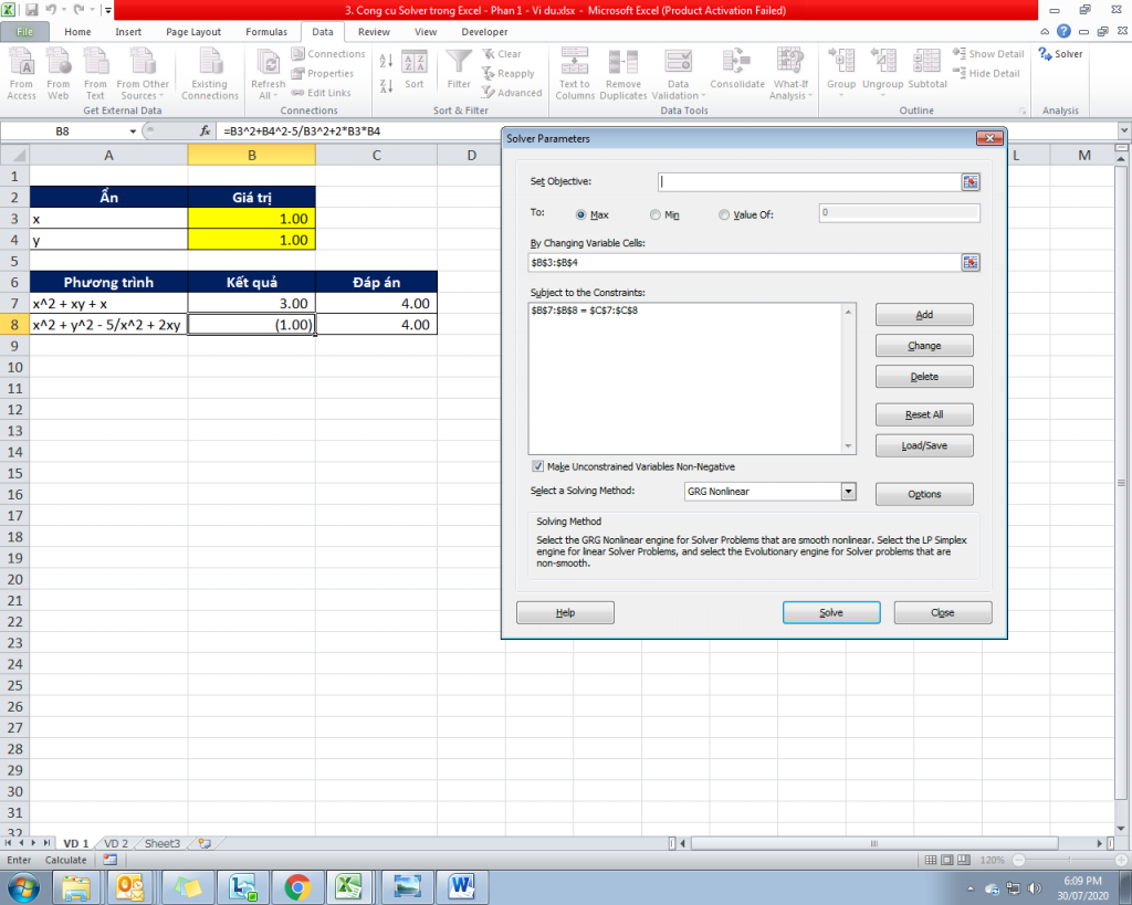 3. Cong cu Solver trong Excel - Phan 1 - Vi du 7