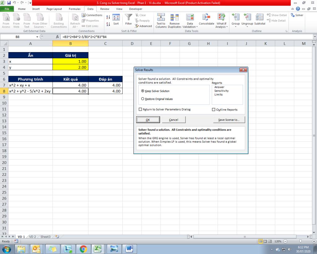 3. Cong cu Solver trong Excel - Phan 1 - Vi du 8