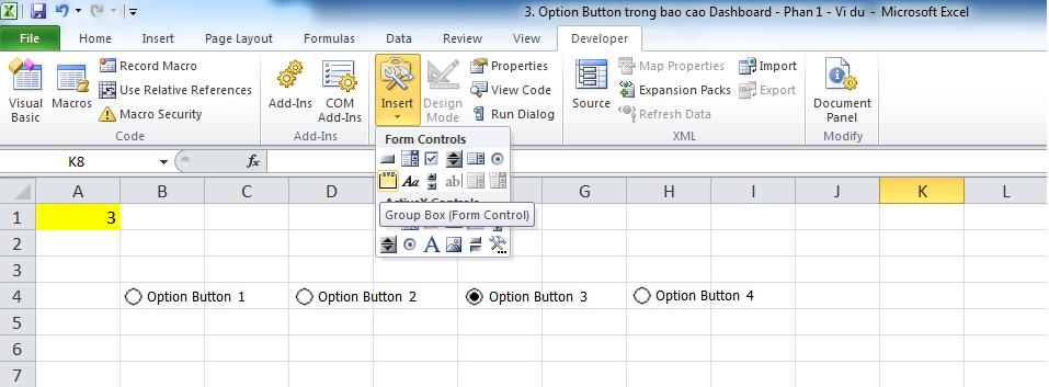 3. Option Button trong bao cao Dashboard - Phan 1 - Vi du 5