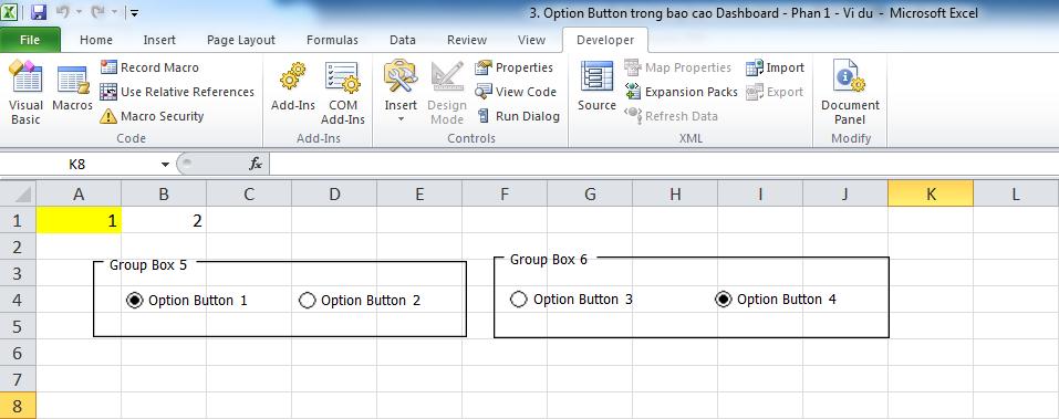 3. Option Button trong bao cao Dashboard - Phan 1 - Vi du 6