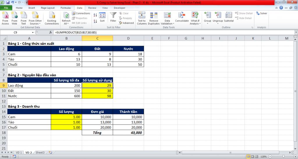 3. Cong cu Solver trong Excel - Phan 2 - Vi du 1