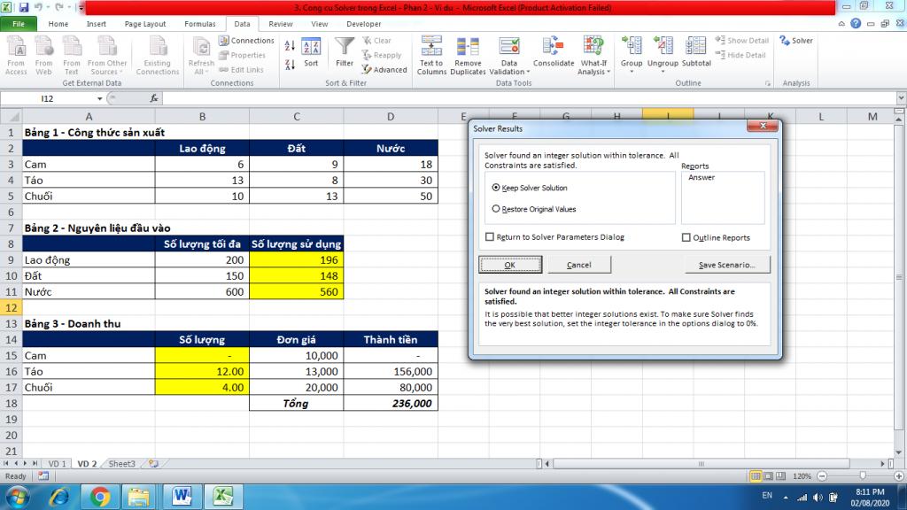 3. Cong cu Solver trong Excel - Phan 2 - Vi du 3
